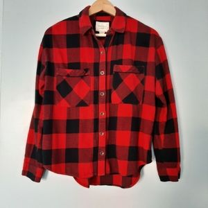 FOREVER 21 Red Plaid Flanel Buton Down Shirt S